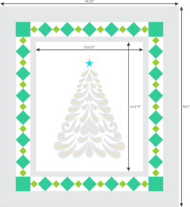 Feathered Christmas with diamond border 2