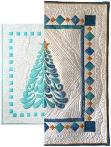 Feathered Christmas with traced applique shapes